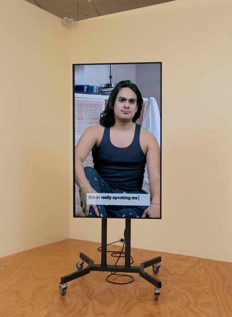 Antoine Catala, 'Flat Sitcom' (2017), TV, TV stand, mini-computer [2].