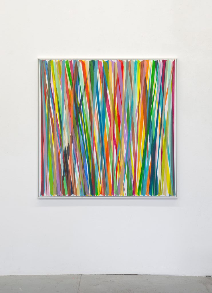 Beat Zoderer Verticales Zig-Zag No. 10, 2019 Acrylic on primed wood 123 x 123 cm