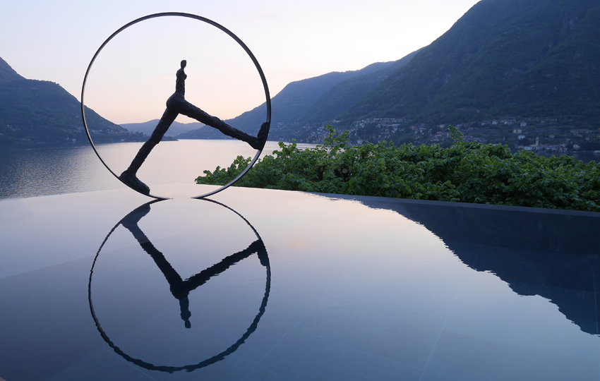 Temps Qui Passe by Nathalie Decoster installed at Villa Lario, Lake Como