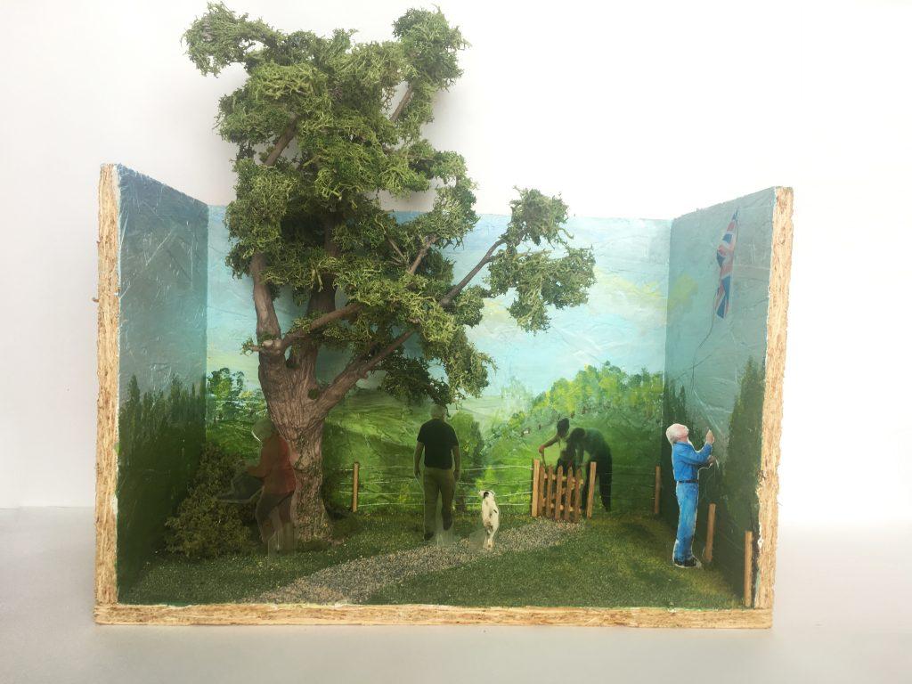 Betsy Bond Landscape Exhibition Space 2020 Mixed Media (oriented strand board,clay,sand,lichen, wood,wire) 32 x 21 x 30 cm FAD MAGAZINE
