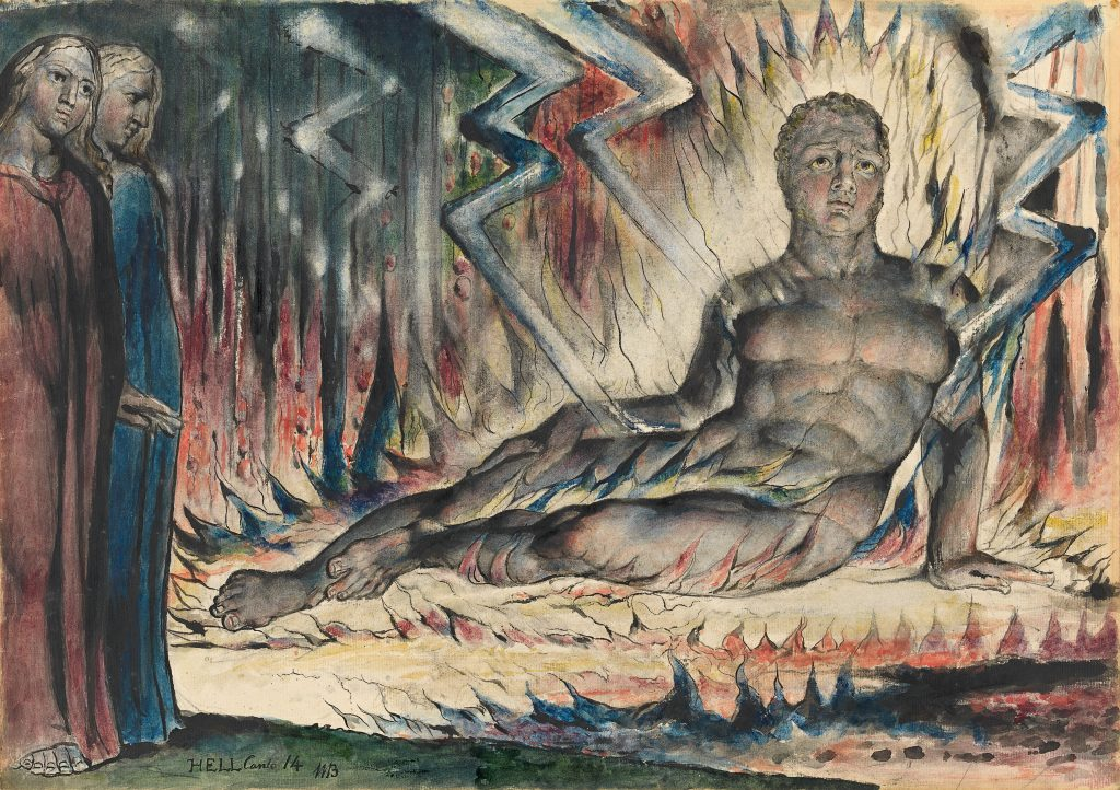 William Blake (1757-1827)?Capaneus the Blasphemer 1824-1827?Pen and ink and watercolour over pencil and black chalk, with sponging and scratching out?374 x 527 mm?National Gallery of Victoria, Melbourne FAD magazine
