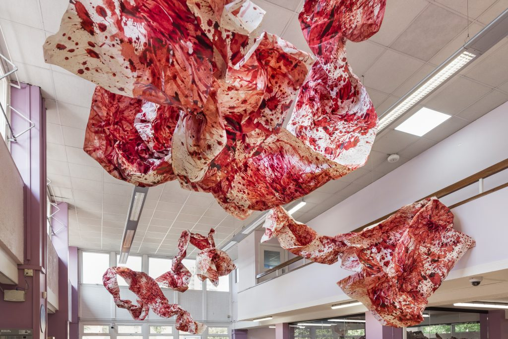 Imran Qureshi, paper installation at Ealing Road Library Part of the Brent Biennial, Brent 2020, London Borough of Culture. Photo © Thierry Bal FAD magazine