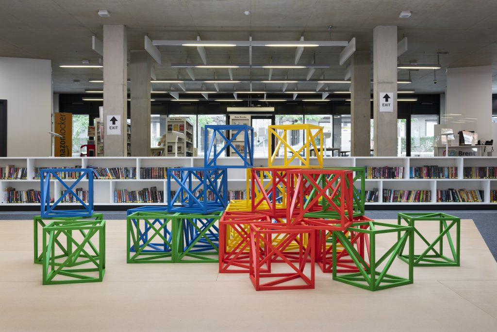 Rasheed Araeen, Zero to Infinity at The Library at Willesden Green Part of the Brent Biennial, Brent 2020, London Borough of Culture Photo © Thierry Bal