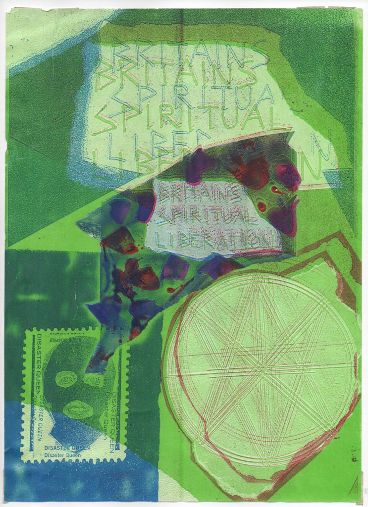 Jamie Reid, Britain's Spiritual Liberation, 1990. Colour Xerox with collage, 297 x 210 mm. Courtesy John Marchant Gallery.