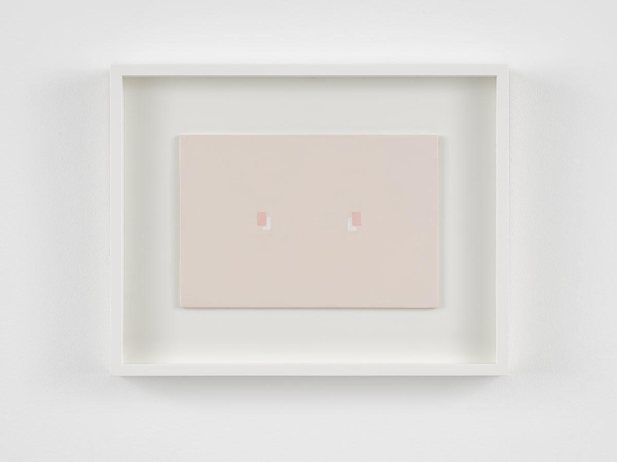 Antonio Calderara  Incontro rettangolare sul rosa, 1970-1971 Oil on board  18 x 27 cm / 7 1/8 x 10 5/8