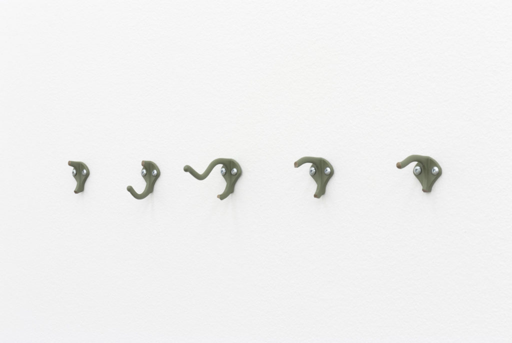 "Vanessa Maltese Hook no. 4, 2020 Patinated bronze, wax, hardware 2"" X 1.5"" X 3.12"" 5.08cm X 3.81cm X 7.92cm"