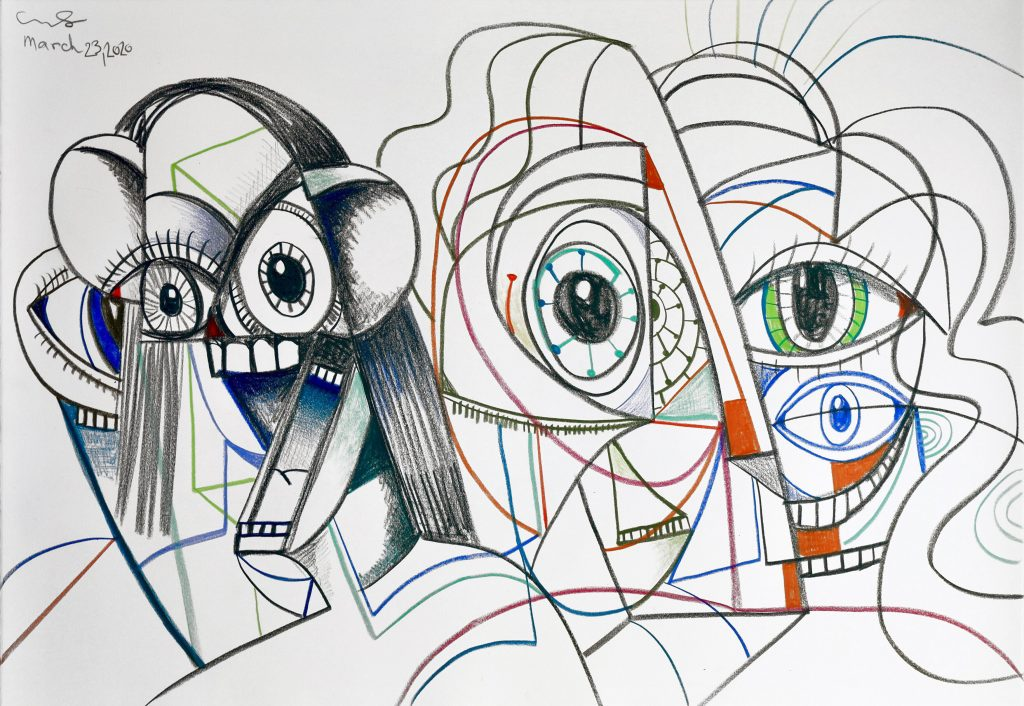 Together and Apart 2020 Ink and wax crayon on paper 61 x 91.4 cm / 24 x 36 in