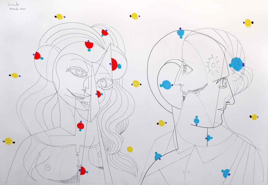 George Condo Molecular Figures 2020 Pen and wax crayon on paper