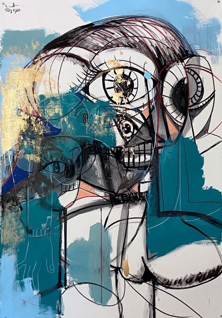 George Condo Inside Out 2020 Metallic paint, acrylic, and crayon on paper 152.4 x 101.6 cm / 60 x 40 in approx.