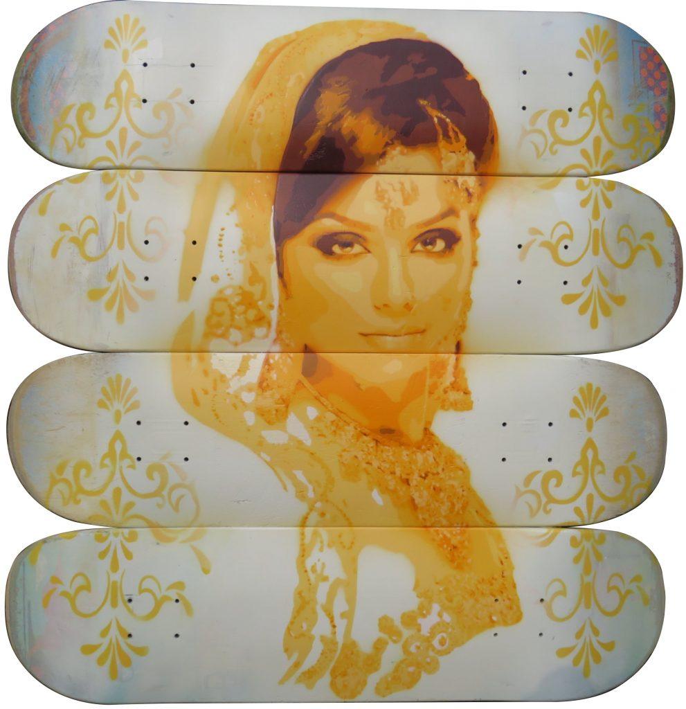 Hemanta Spray Paint on used Skate Decks Unique 80.5 cm x 77cm