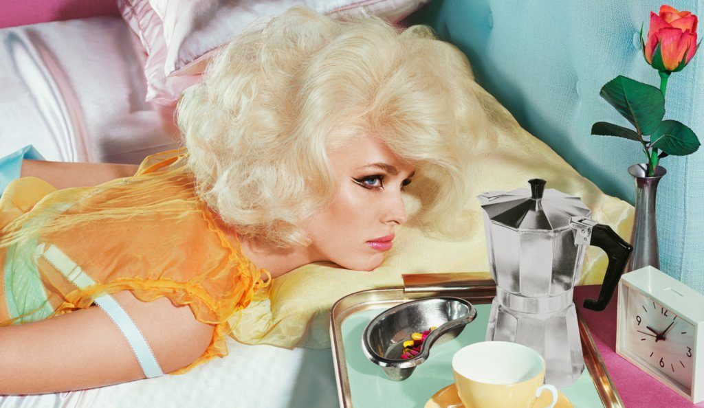 MILES ALDRIDGE New Utopias #3 2018 New Utopias 87 x 150 cm (34 1/4 x 59 in.) Screenprint in colours with silver ink printed on 410gsm Somerset Paper © Miles Aldridge / Courtesy of Christophe Guye Galerie