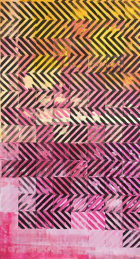 Cob Gallery, Dominic Beattie, Untitled, 2018, ink and spray paint on plywood, 110x90cm FAD Magazine