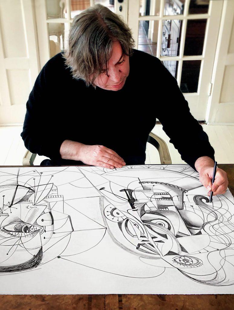 Condo in the studio George Condo with his work 'Linear Contact', 2020
