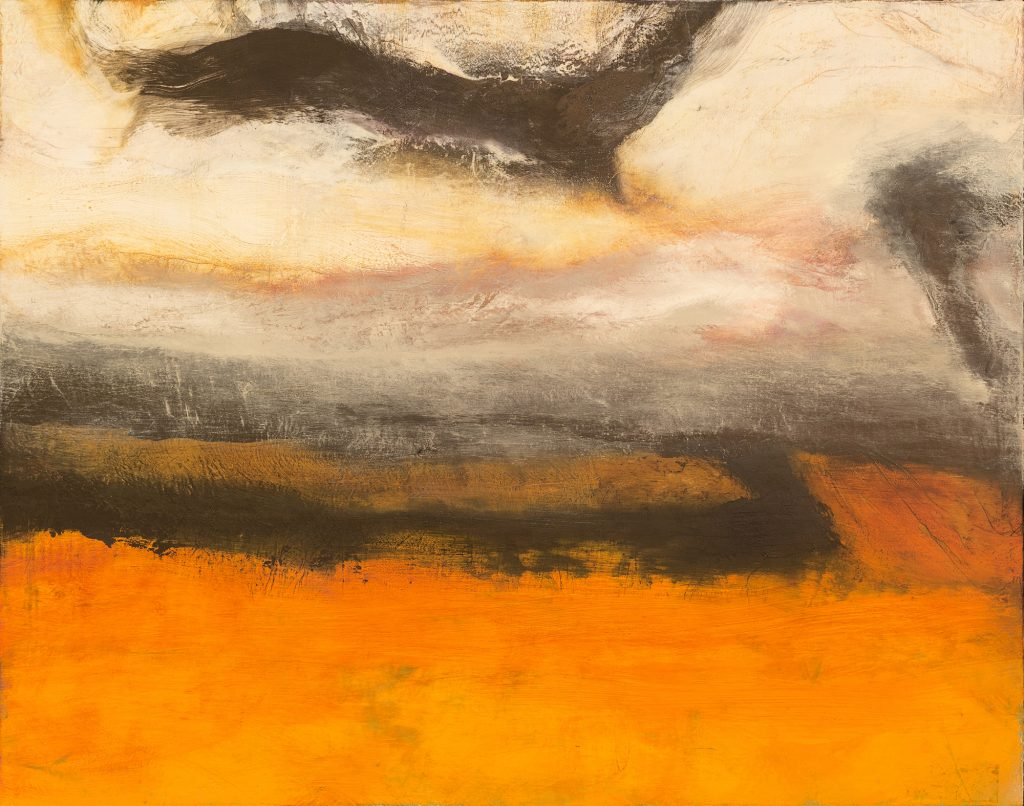 Crows Above a Grainfield I - Aloft, oil on jute canvas. 85 x 107 cms FAD MAGAZINE