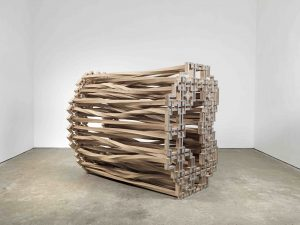 Richard Deacon?I Remember #5, 2018?Wood and stainless steel?182 x 137 x 206 cm?71 5/8 x 53 7/8 x 81 in © Richard Deacon; Courtesy Lisson Gallery