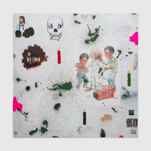 """David Leggett, """"She's saved, but it is the weekend,"""" 2019. Acrylic, spray paint, and collage on paper mounted on canvas. 72 x 72 inches. Courtesy the Artist and Shane Campbell Gallery, Chicago /Photo: Evan Jenkins"""