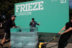 In the latest of his interventions Massimo Agostinelli Deposits Blocks of Ice at Frieze London.