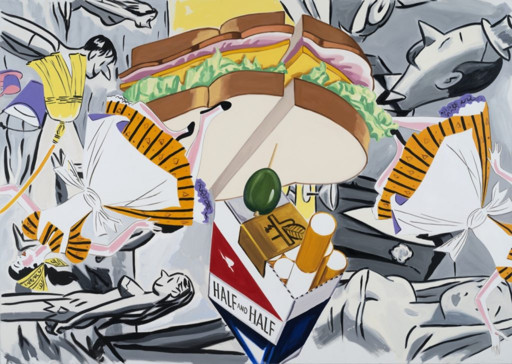 David Salle Flying, Rainbow, Sandwich, 2019 Oil and acrylic on linen