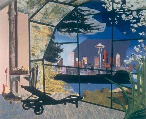 Dexter Dalwood, Kurt Cobain's Greenhouse, 2000, Oil on canvas, 214 x 258cm