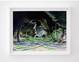 Dark Forest Streetnew size dad Fighter III Akuma Stage 2013 Pastel on Paper NEW SIZE 300x237 David and John Blandy walking and talking