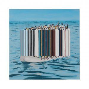 Darren Coffield, Ebb and Flow, 2019. Acrylic on canvas, 44.5 x 43.5 cm © Darren Coffield. Courtesy of Dellasposa Gallery FAD Magazine