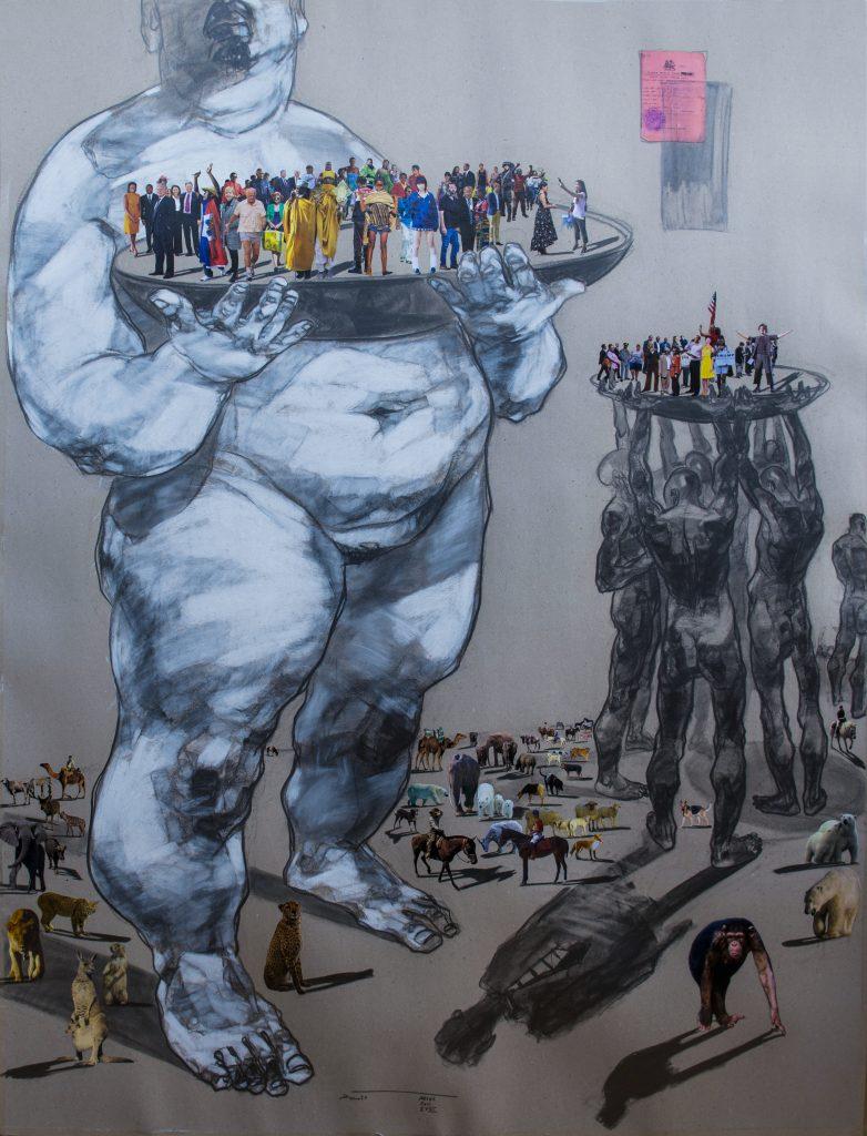 Dawit Abebe_Mutual Identity 24, 2019 Mixed media Drawing on Paper 200 x 150 cm courtesy Kristin Hjellegjerde Gallery