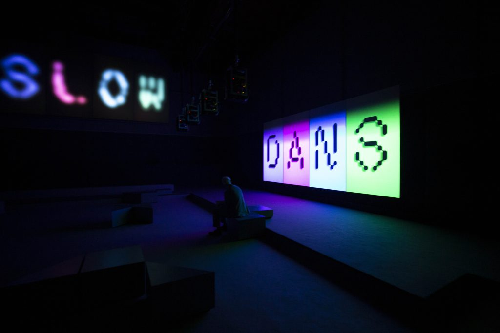 Installation view of Elizabeth Price's SLOW DANS at the Assembly room, London Presented by Artangel