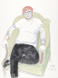 David Hockney, Ed Sheeran. 2018. Charcoal and crayon on canvas. 122 x 91.5 cm © David Hockney Photo Credit: Richard Schmidt FAD MAGAZINE