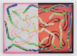 Eddie Peake Patient 2017 Lacquered spray paint on canvas 45 1/4 x 63 x 1 1/4 in. (115 x 160 x 3.2 cm) © Eddie Peake. Photo © White Cube (Ollie Hammick) FAD Magazine