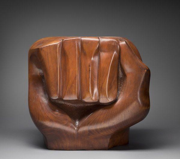 2014.11 Elizabeth Catlett Sculpture Black Unity, 1968 21 in. × 12 1/2 in. × 24 in. (53.3 × 31.8 × 61 cm)