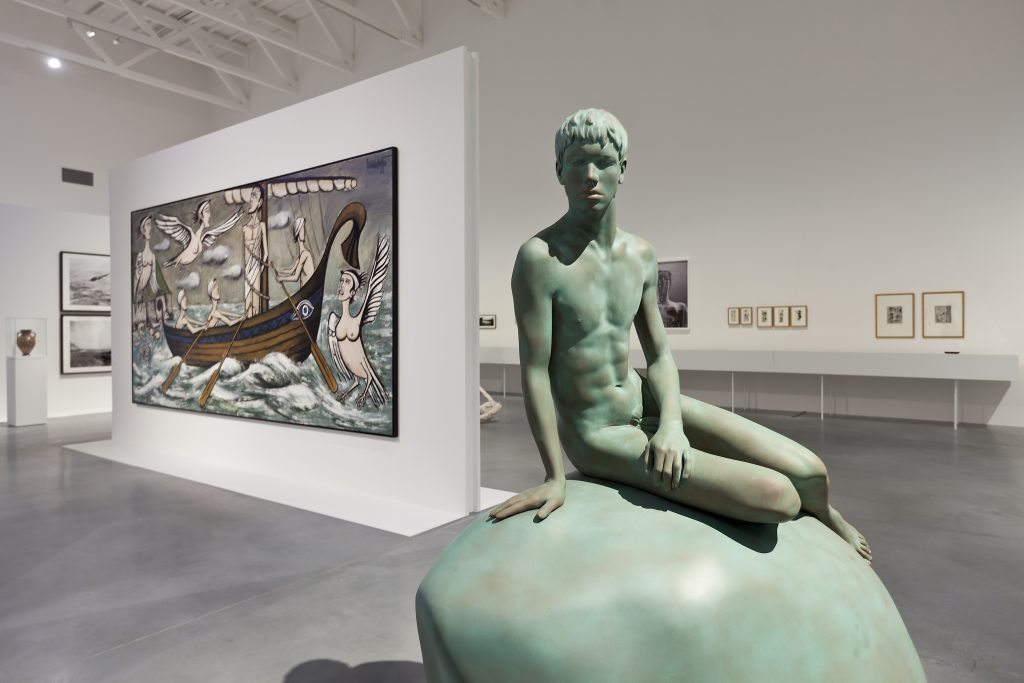 Elmgreen and Dragset's He (2013), in front of Bernard Buffet's The Odyssey, The Sirens (1993) photo Bartosz Stawiarski