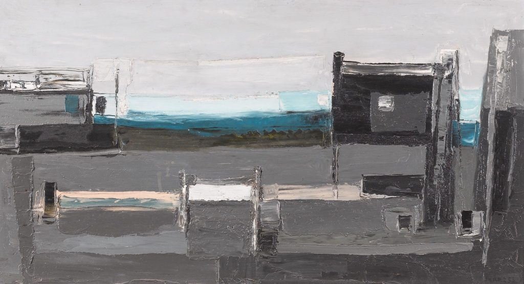 Evening Harbour, Low Tide (1953), Oil on board, 50 x 92 cm, Image courtesy of Paul Feiler Estate & The Redfern Gallery