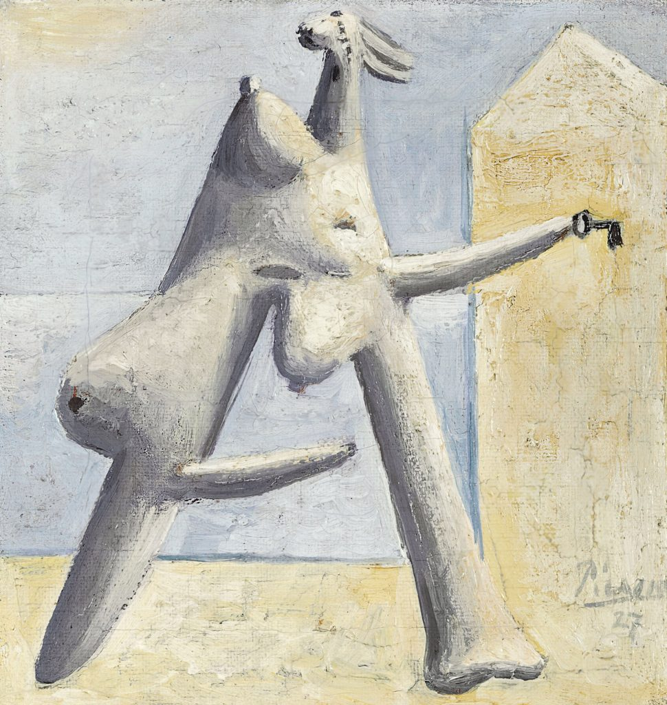 Pablo Picasso Composition (Female Figure at the Beach) [Composition (Figure féminine sur une plage)], 1927 Oil on canvas 18.8 x 17.6 cm Private collection © Sucesión Pablo Picasso, VEGAP, Madrid 2016