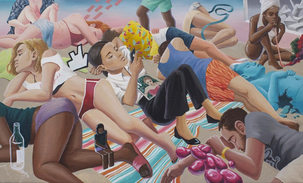Minjoo Kim, Full Moon Party, 2019, acrylic on canvas, 90cm x 150cm. Price: £3,000 GBP FAD MAGAZINE