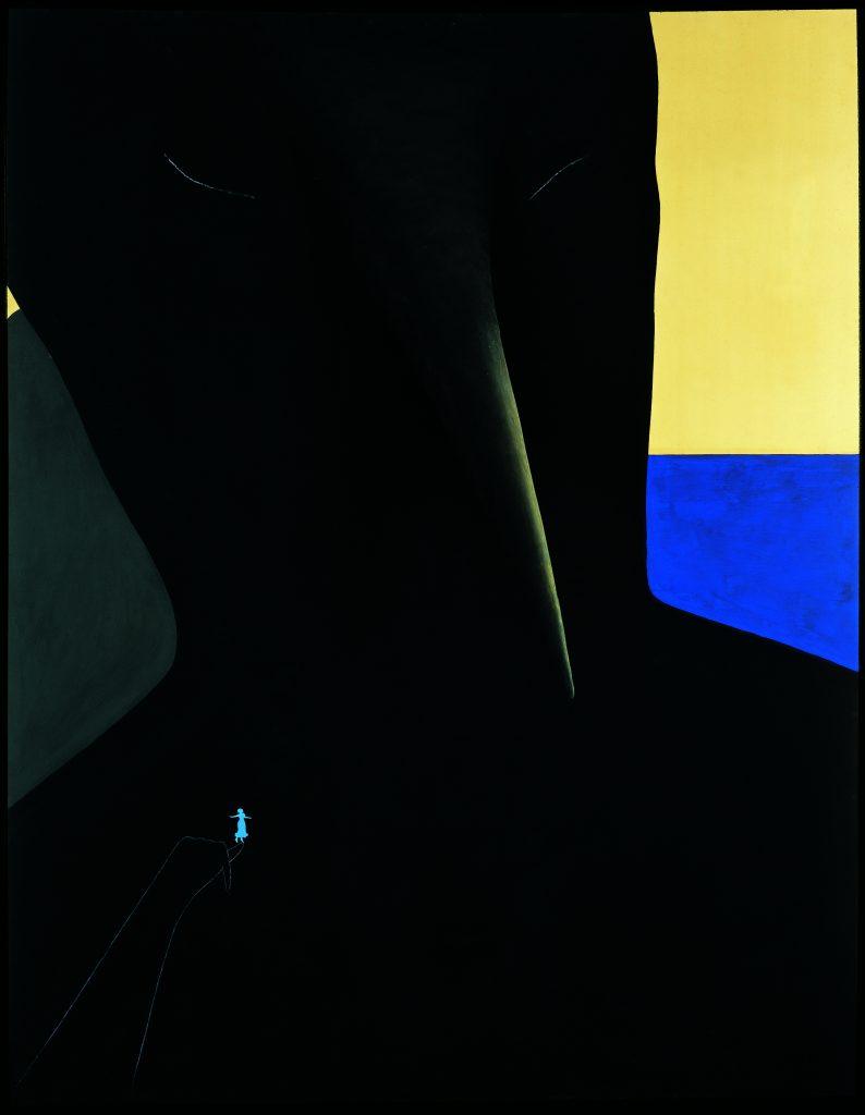 GINO DE DOMINICIS (1947-1998) Con Titolo (Ghilgamesh), 1988 Mixed media on panel 97? x 66? in. (248 x 168 cm.) © Estate of the artist / Archivio Gino De Dominicis, Foligno, Italy. DACS 2017.