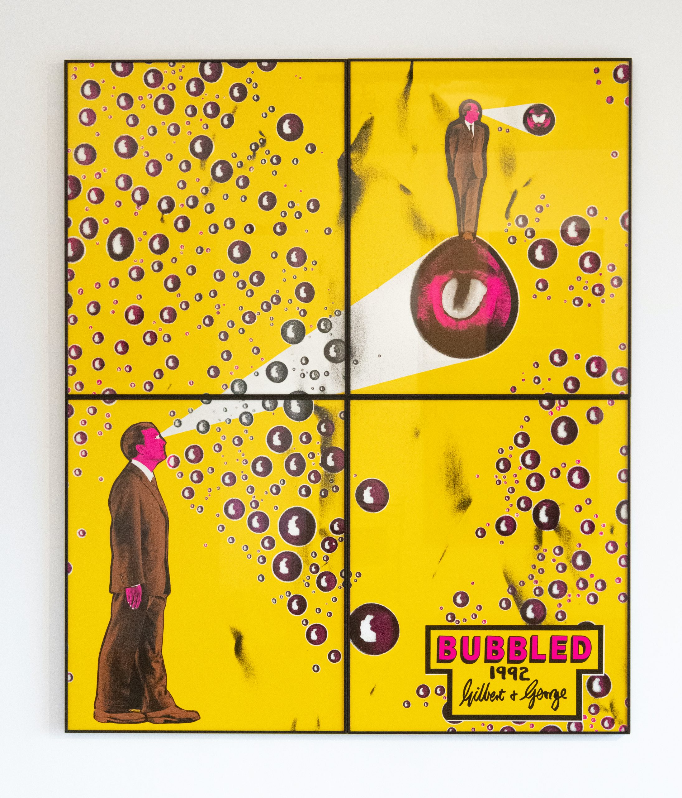 Gilbert & George Bubbled, 1992 Signed, titled and dated Hand coloured gelatin silver prints in artists' frames 4 parts, 169 x 142 cm; (66 1/2 x 55 7/8 in.)