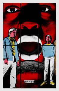 Gilbert & George Three, 1984 Signed, titled and dated Hand coloured gelatin silver prints in artists' frames 12 parts, 242.5 x 151.5 cm; (95 1/2 x 59 5/8 in.