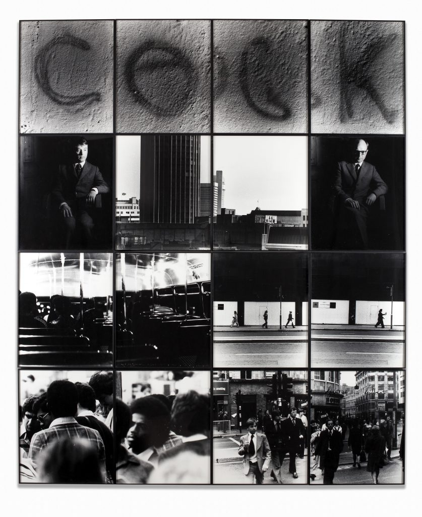 Gilbert & George Cock, 1977 Signed, titled and dated Gelatin silver prints in artists' frames 16 parts, 242.5 x 202 cm; (95 1/2 x 79 1/2 in.) total