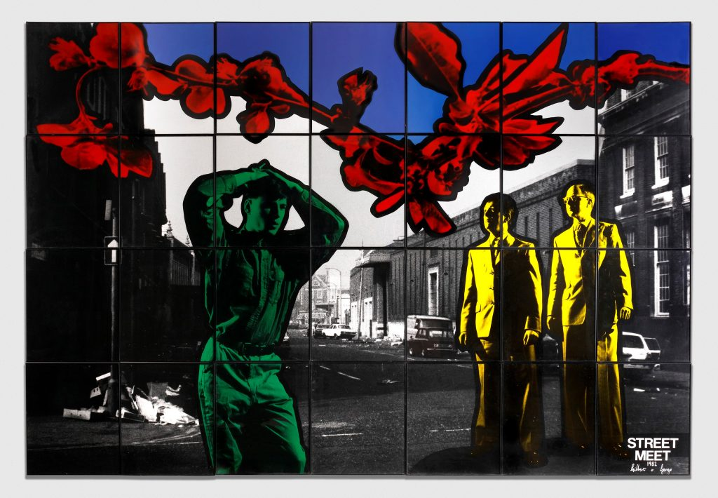 Gilbert & George Street Meet, 1982 Signed, titled and dated Hand coloured gelatin silver prints in artists' frames 28 parts, 241 x 350 cm; (94 7/8 x 137 3/4 in.) total