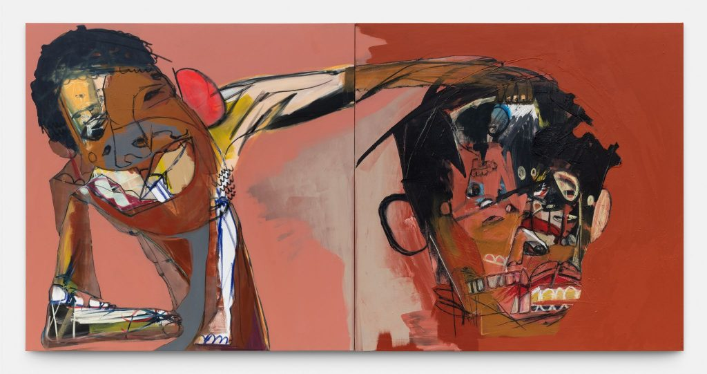 Genesis Tramaine Evidence Of Grace David and Goliath, 2020 Diptych - Acrylic, Gouache, oil Sticks, oil pastels, Yahweh! 182.9 x 182.9 cm (each canvas) 72 x 72 in (each canvas) inches