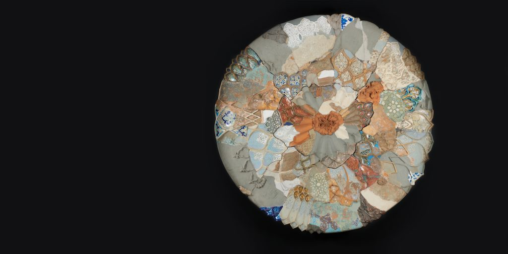 Manjunath Kamath Unfolding Moon, 2019 Painted terracotta  Diameter: 198.12 cm Courtesy of the artist and Gallery Espace