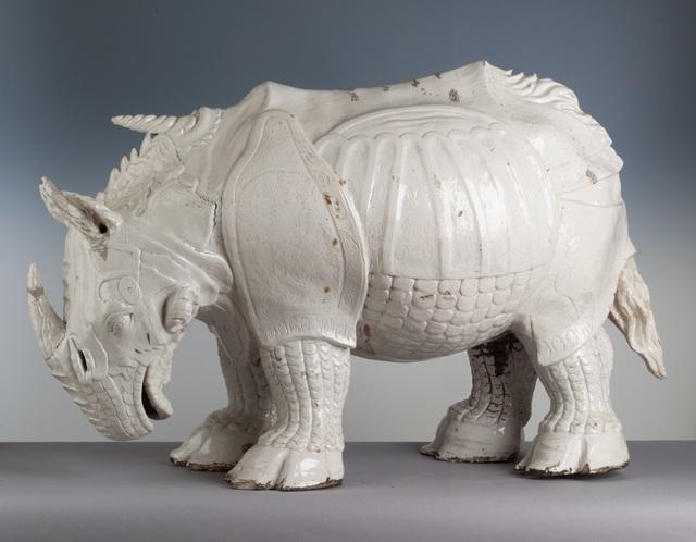 Porcelain rhinoceros based on Durer's print. Made by Johann Gottlieb Kirchner. Photo: Herbert Jäger.