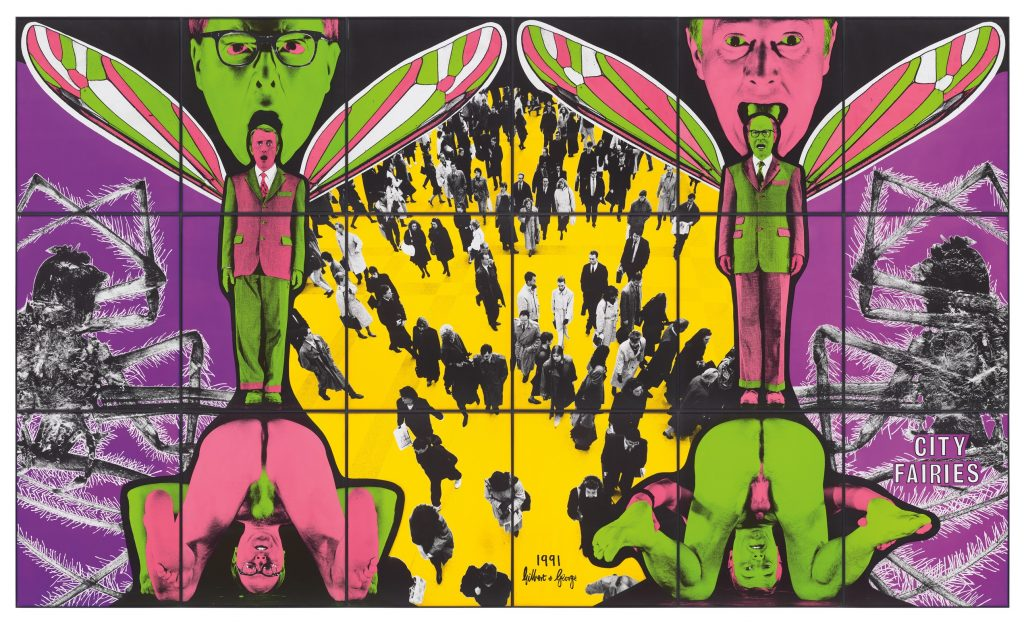 GILBERT & GEORGE b. 1943 and b. 1942 CITY FAIRIES mixed media, in artists' frames, in 18 parts overall 253.7 x 426.8 cm (99 7/8 x 168 in.) Executed in 1991. ESTIMATE £120,000-180,000 PROVENANCE Anthony d'Offay Gallery, London Acquired from the above by the present owner in October 1997 EXHIBITED Aarhus Kunstmuseum, Gilbert & George: New Democratic Pictures, 1992, no. 3, p. 44 (illustrated, p. 45) Galleria d'Arte Moderna di Bologna, Gilbert & George, 18 May - 8 September 1996, p. 223 Musee d'Art moderne de la Ville de Paris, Gilbert & George, 4 October 1997 - 4 January 1998, p. 430 (illustrated, pp. 220-1) London, Tate Modern; Munich, Haus der Kunst; Turin, Castello di Rivoli; San Francisco, de Young Museum; Milwaukee Art Museum; New York, Brooklyn Museum, Gilbert & George: Major Exhibition, 15 February 2007 - 11 January 2009, pl. 143, p. 207 (illustrated, p. 132)