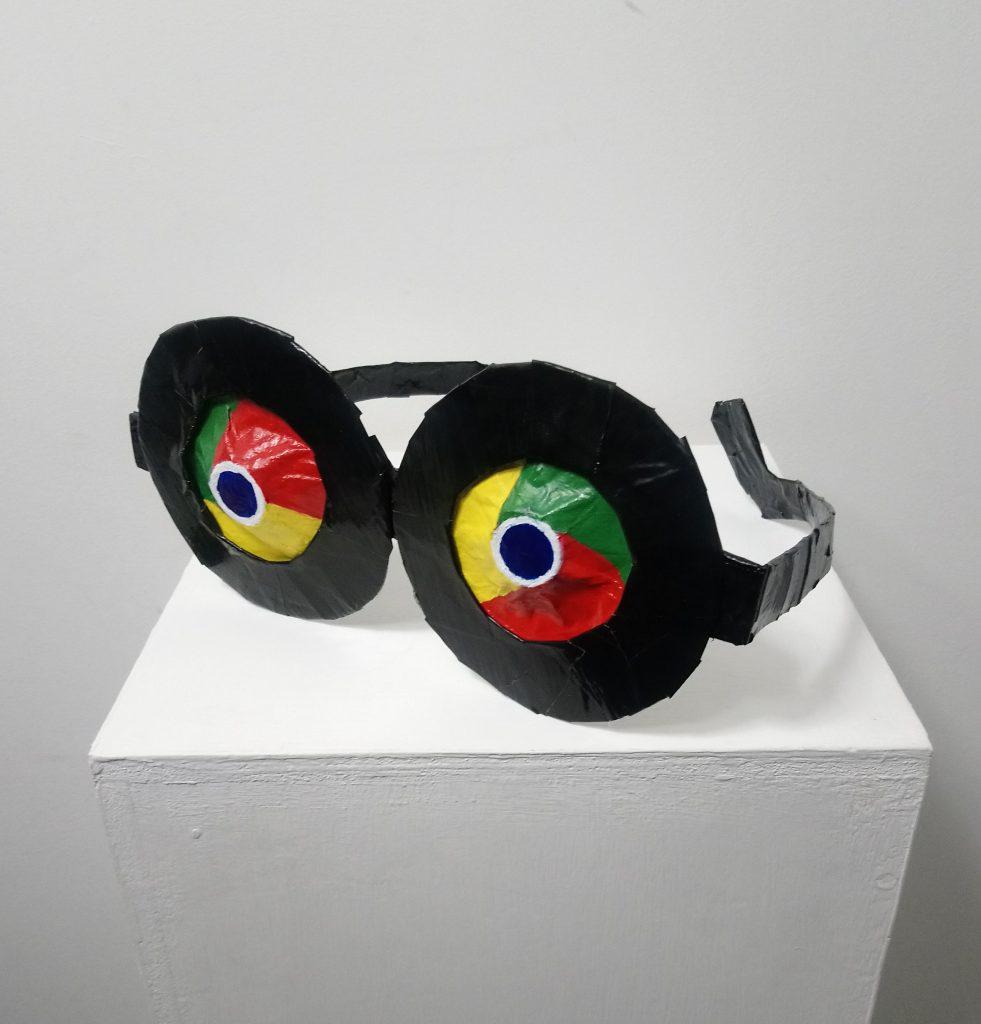 'Go-ogle', Denise Kehoe, paper mache, card, tape, 2018