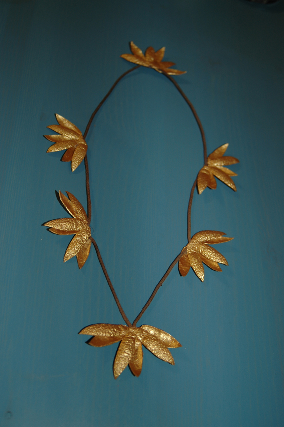 Golden cocoon necklace by Ida Ivanka Kubler. Courtesy the artist.
