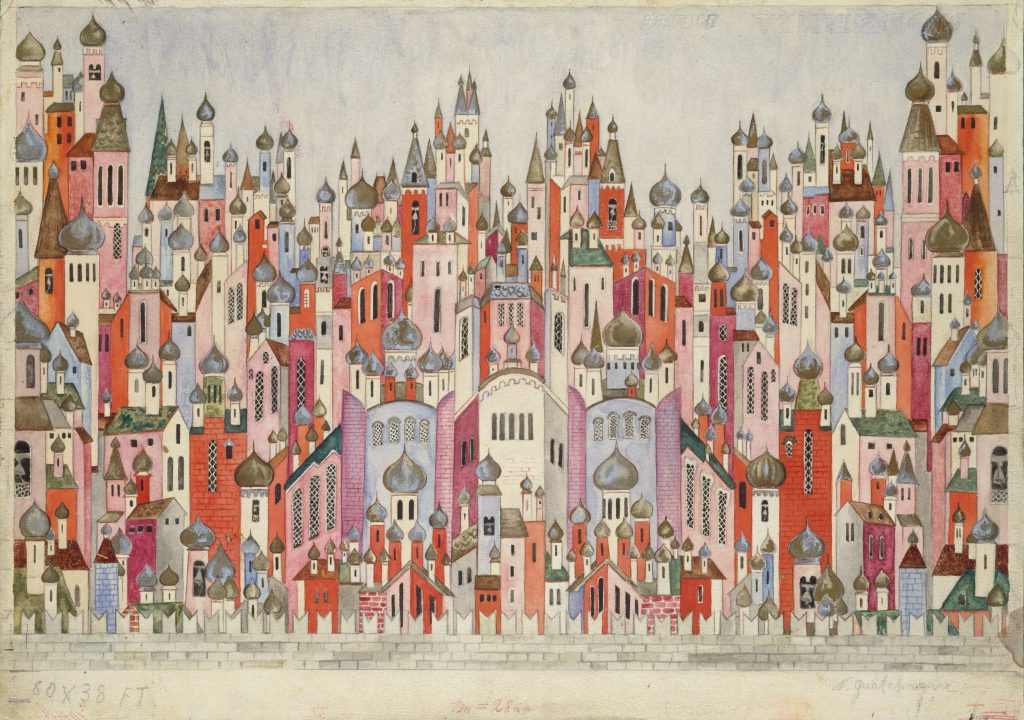 Natalia Goncharova (1881- 1962) Set design for the final scene of The Firebird 1954 Graphite and gouache on paper?Victoria and Albert Museum, London?© ADAGP, Paris and DACS, London 2019