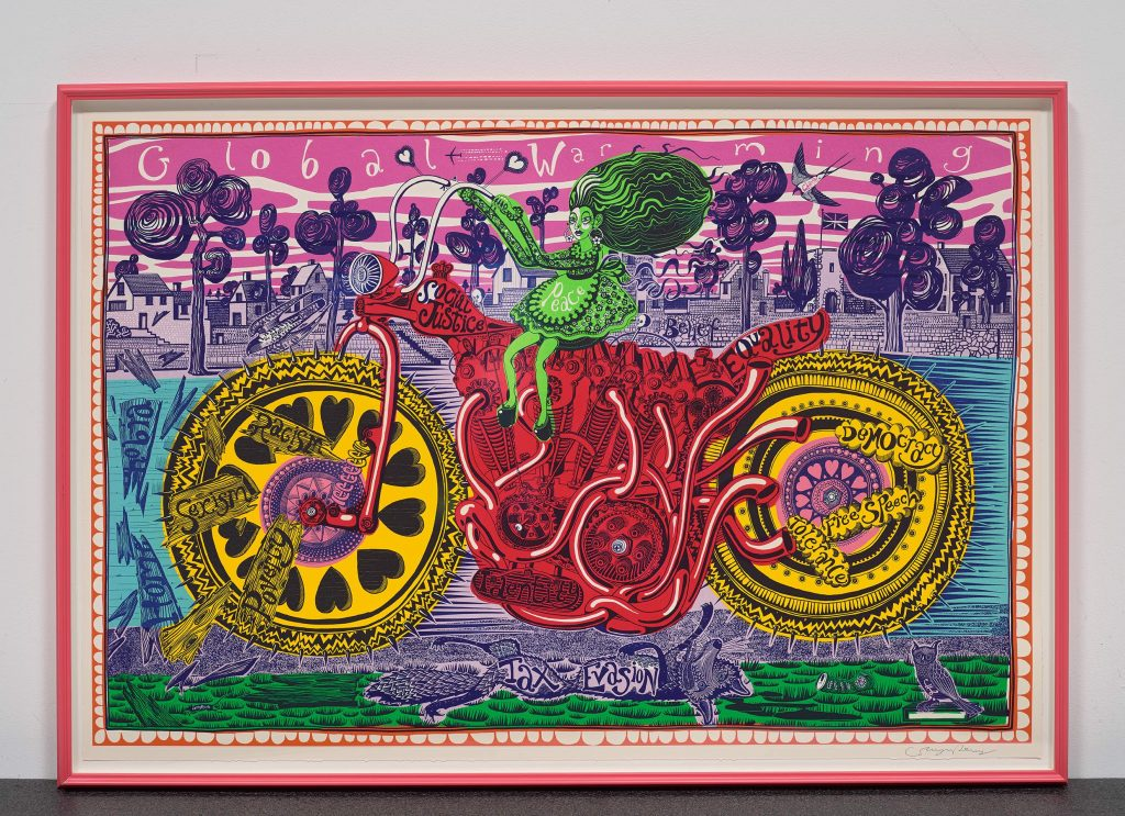 Grayson Perry Selfie with Political Causes, 2018 Estimate: £6,000 - £8,000 FAD MAGAZINE