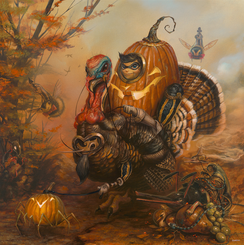 Greg -Craola Simkins-, The Gobbler, acrylic, 30 x 30 inches