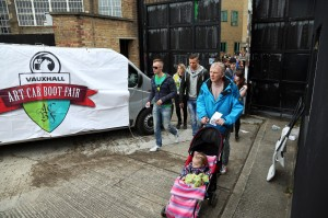 Guests entering the Vauxhall Art Car Boot Fair 2013 (89)