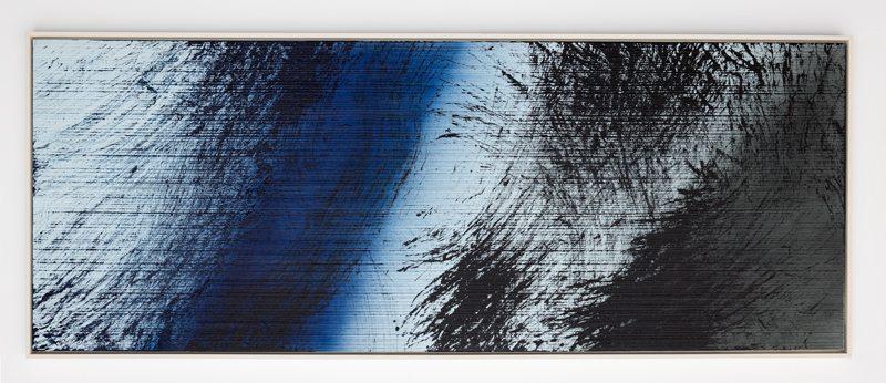Hans Hartung T1980-E3, 1980 Acrylic on canvas 114 x 300 cm (44 7/8 x 118 1/8 in.) © Hans Hartung / ADAGP, Paris 2017 Courtesy Simon Lee & Perrotin